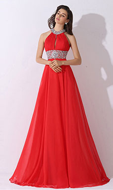 Sheath/Column V-neck Sweep/Brush Train Chiffon Lace Evening Dress