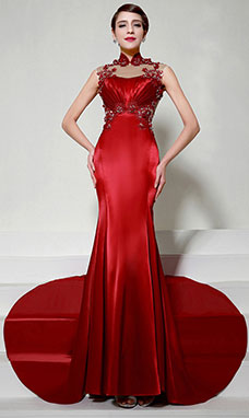 Sheath/Column Sweetheart Sweep/Brush Train Chiffon Evening Dress