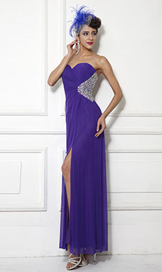 Sheath/Column One Shoulder Sweep/Brush Train Chiffon Prom Dress