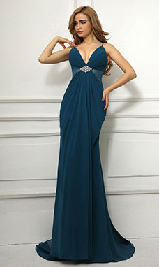 A-line Spaghetti Straps Sweep/Brush Train Satin Evening Dress