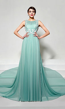 Sheath/Column Strapless Floor-length Chiffon Prom Dress