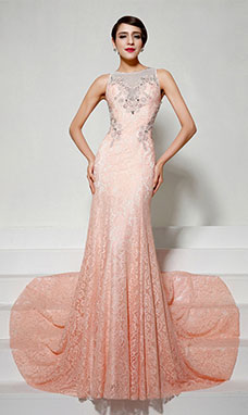Trumpet/Mermaid Sheath/Column V-neck Sweep/Brush Train Chiffon Evening Dress