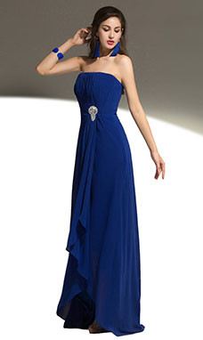 Sheath/Column One Shoulder Floor-length Chiffon Sequins Prom Dress