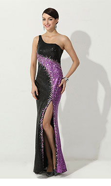 Sheath/Column Trumpet/Mermaid High Neck Sweep/Brush Train Sequins Evening Dress