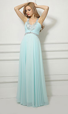 Sheath/Column Scoop Floor-length Chiffon Sequins Evening Dress