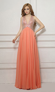 A-line Sweetheart Floor-length Organza Prom Dress