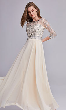 A-line Scoop 3/4 Length Sleeve Chiffon Prom Dress