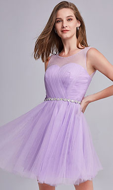 A-line Scoop Sleeveless Tulle Prom Dress