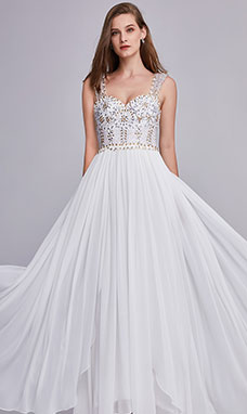 A-line Off The Shoulder Floor-length Chiffon Tulle Evening Dress