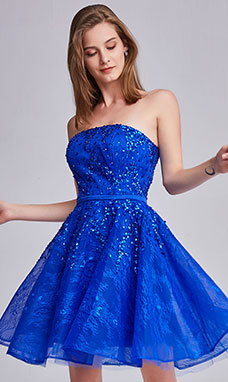 A-line Strapless Sleeveless Organza Prom Dress