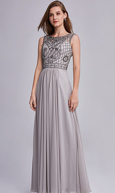A-line Scoop Floor-length Prom Dress