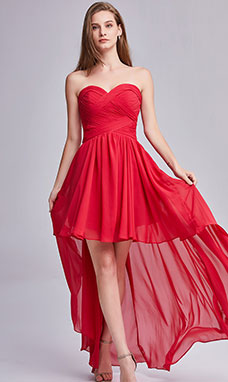 A-line Sweetheart Asymmetrical Chiffon Prom Dress