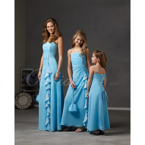 A-line Spaghetti Floor-length Chiffon Flower Girl Dress