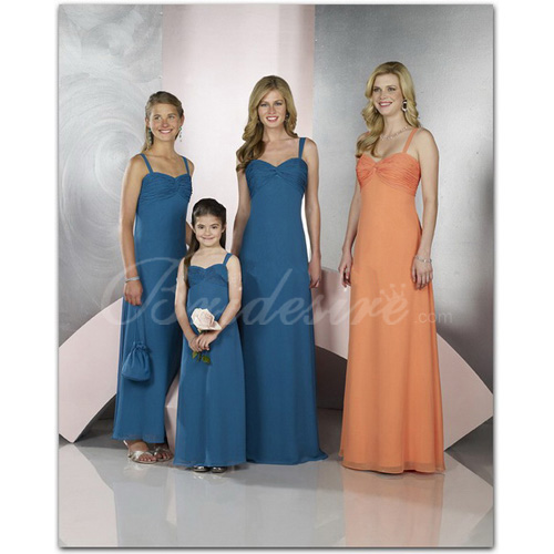 Sheath / Column Spaghetti Sleeveless Floor-length Chiffon Flower Girl Dress