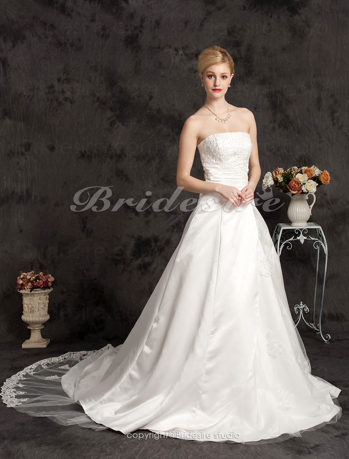 A-line Chapel Train Plus Size Satin Strapless Wedding Dress with Split Front