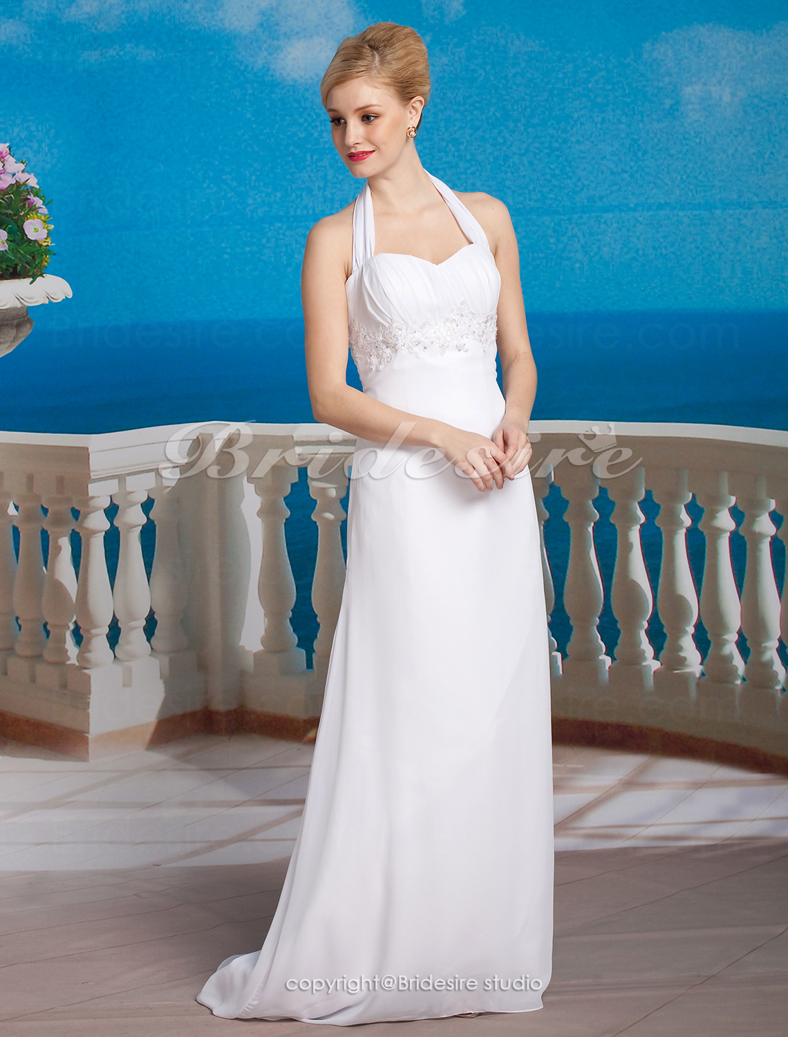 Sheath/ Column Chiffon Halter Asymmetrical Empire Wedding Dress with Beaded Appliques