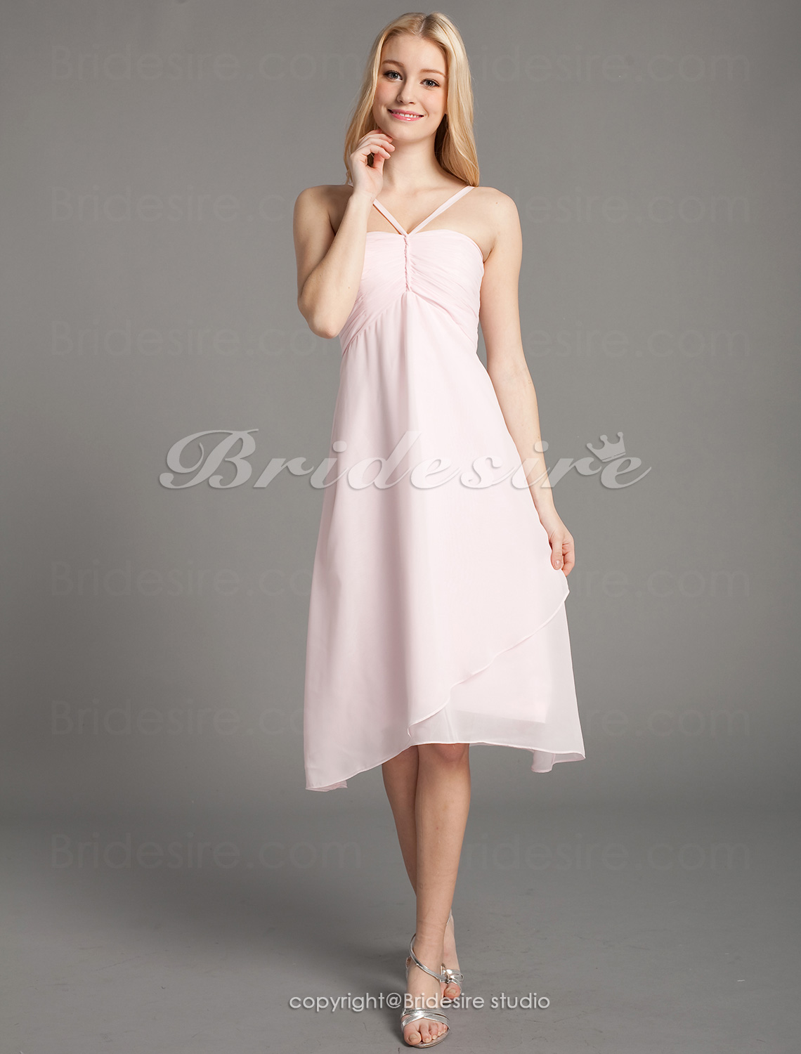 Empire Chiffon Knee-length Spaghetti Straps Bridesmaid/ Wedding Party Dress