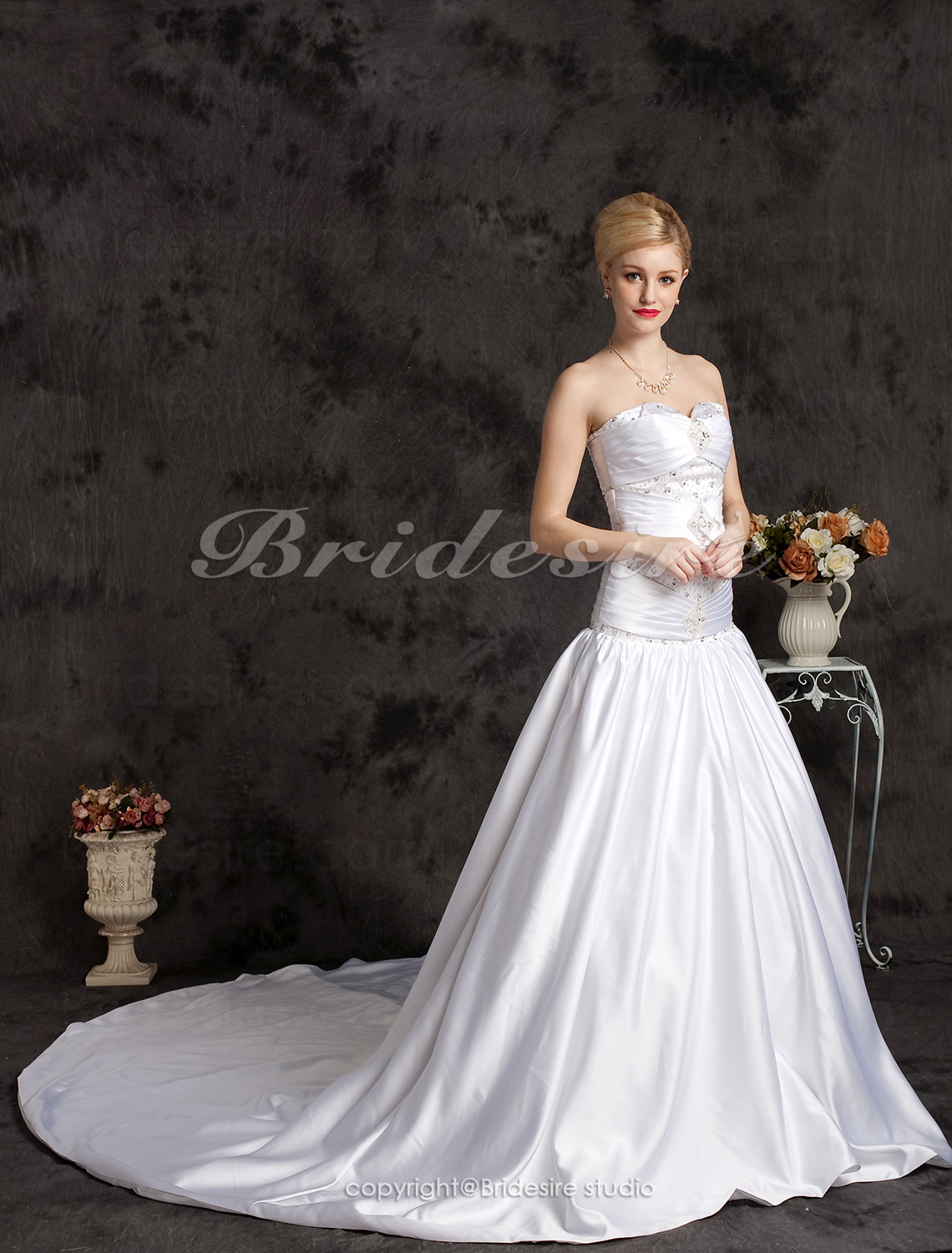 Ball Gown Satin Cathedral Train Sweetheart Wedding Dress With Ruched Waist