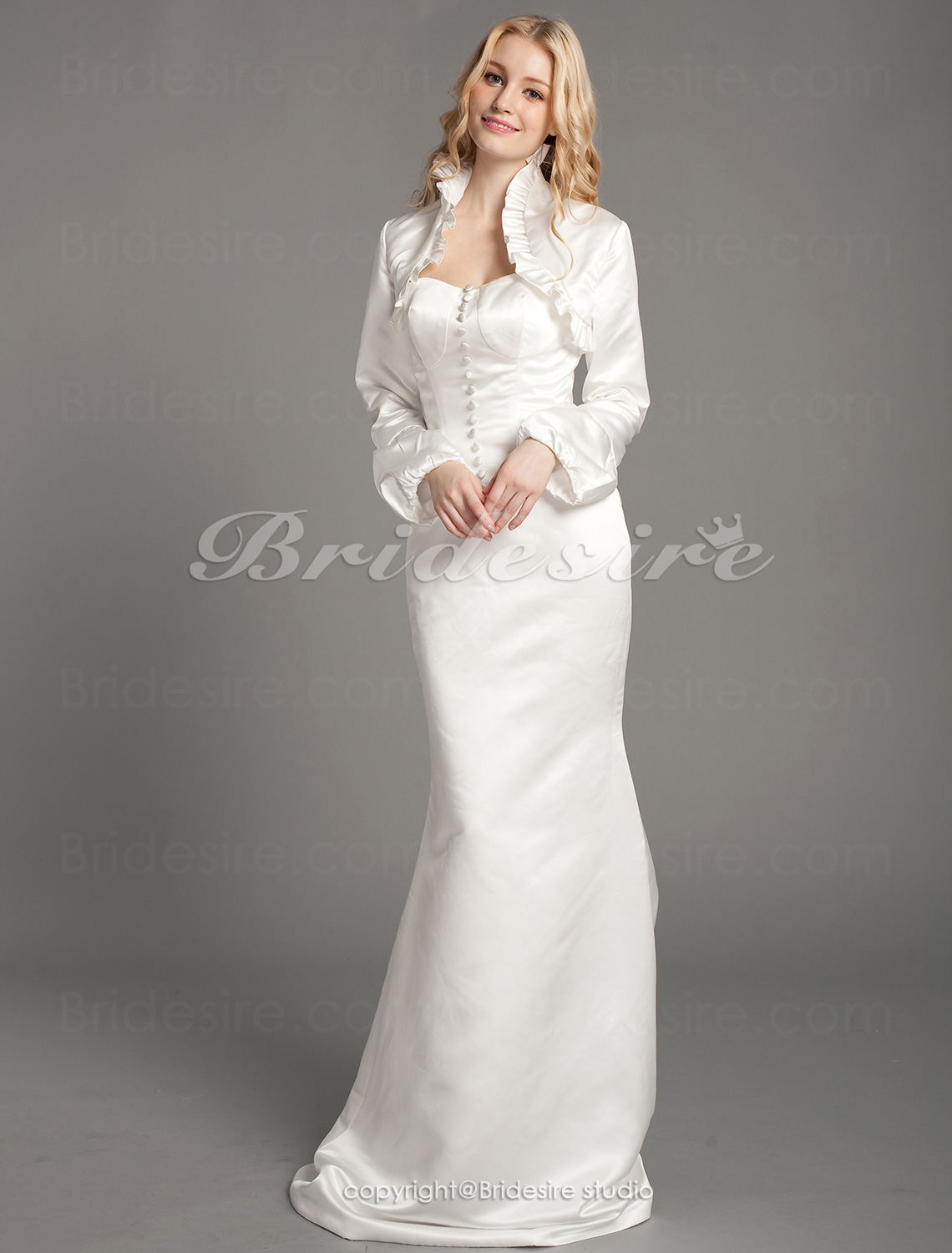 Mermaid/Trumpet Satin Floor-length Sweetheart Wedding Dress With Long Sleeve Wrap