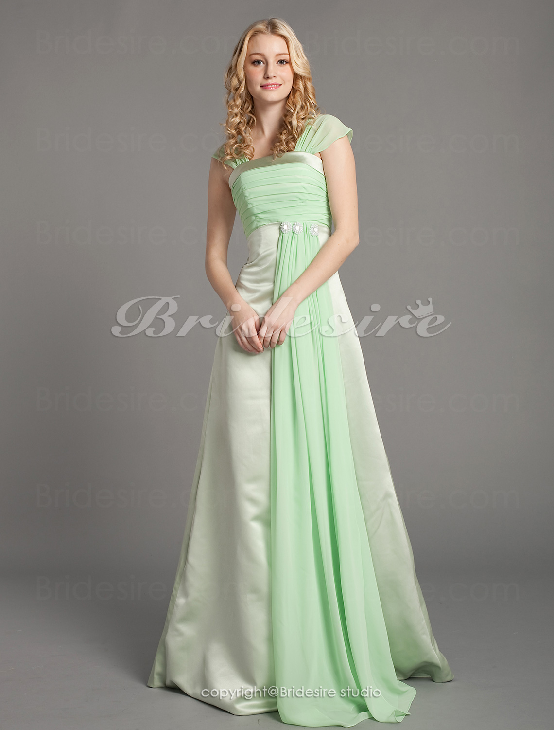 Sheath/ Column Floor-length Square Satin Chiffon Bridesmaid Dress