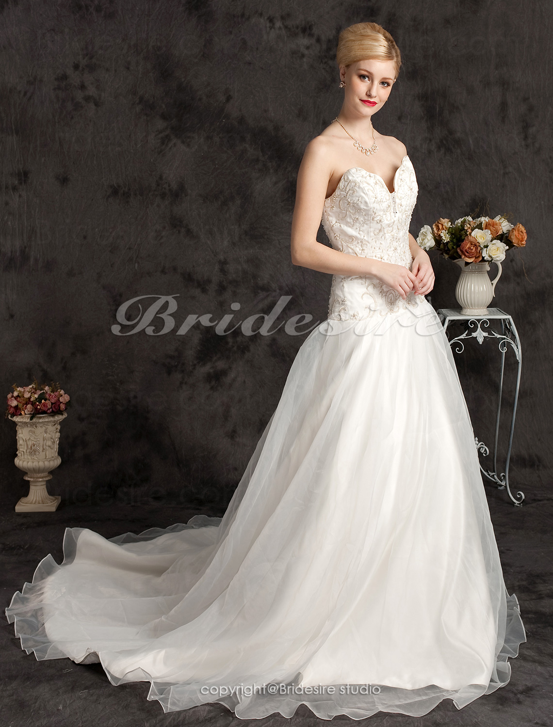 Ball Gown Chapel Train Strapless Wedding Dress