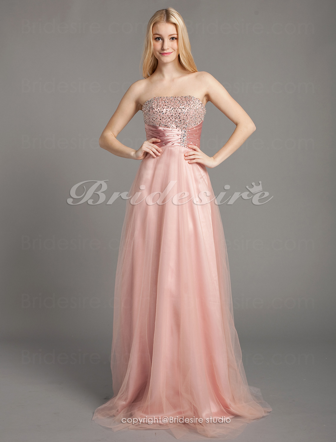 A-line Stretch Satin And Tulle Floor-length Strapless Evening Dress