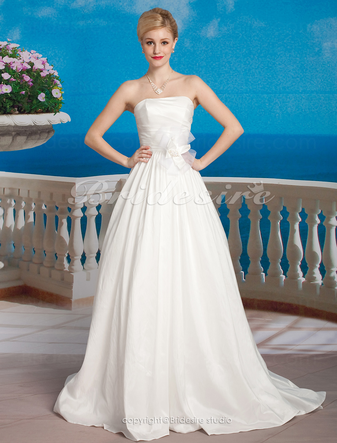 A-line Taffeta Chapel Train Strapless Wedding Dress