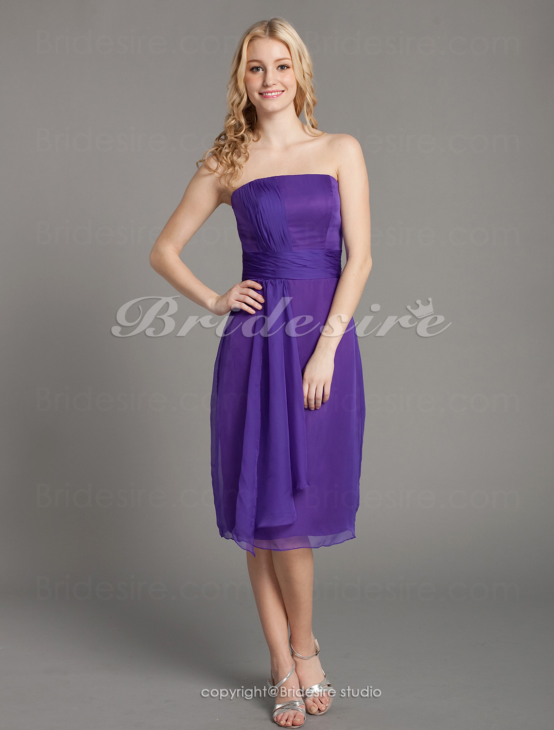 Sheath/ Column Draped Chiffon Knee-length Strapless Bridesmaid Dress