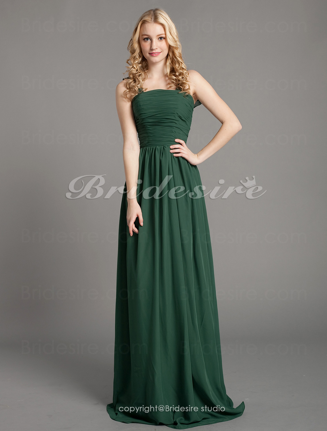 A-line Chiffon Floor-length Cowl Bridesmaid Dress
