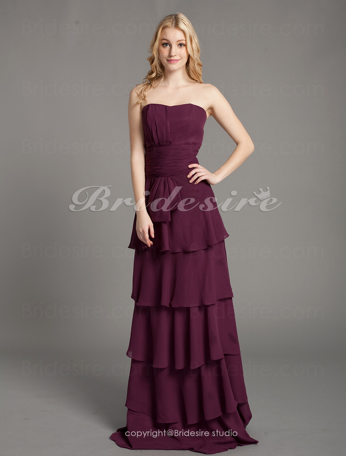 Sheath/ Column Chiffon Floor-length Sweetheart Bridesmaid Dress