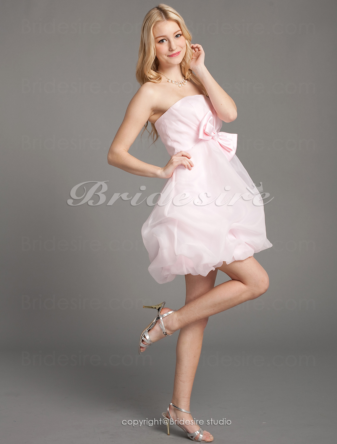 Ball Gown Organza Short/ Mini Strapless Bridesmaid Dress