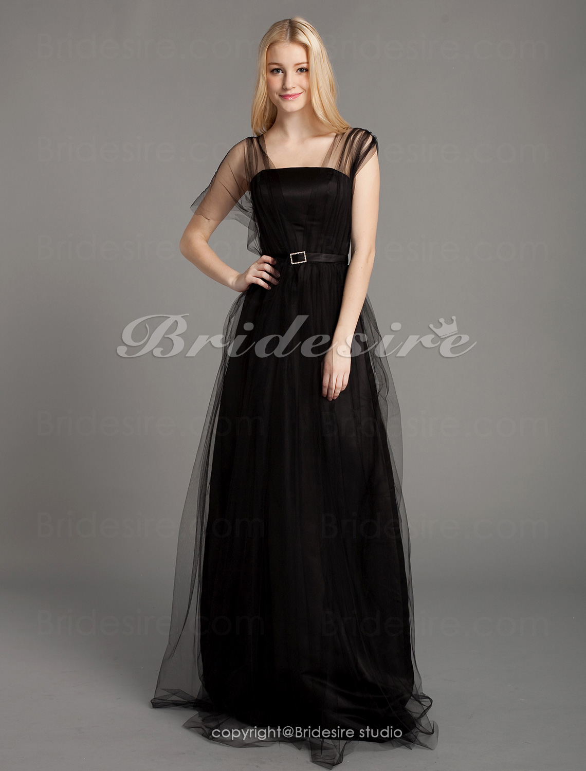 Sheath/Column Straps Tulle And Satin Floor-length Bridesmaid Dress
