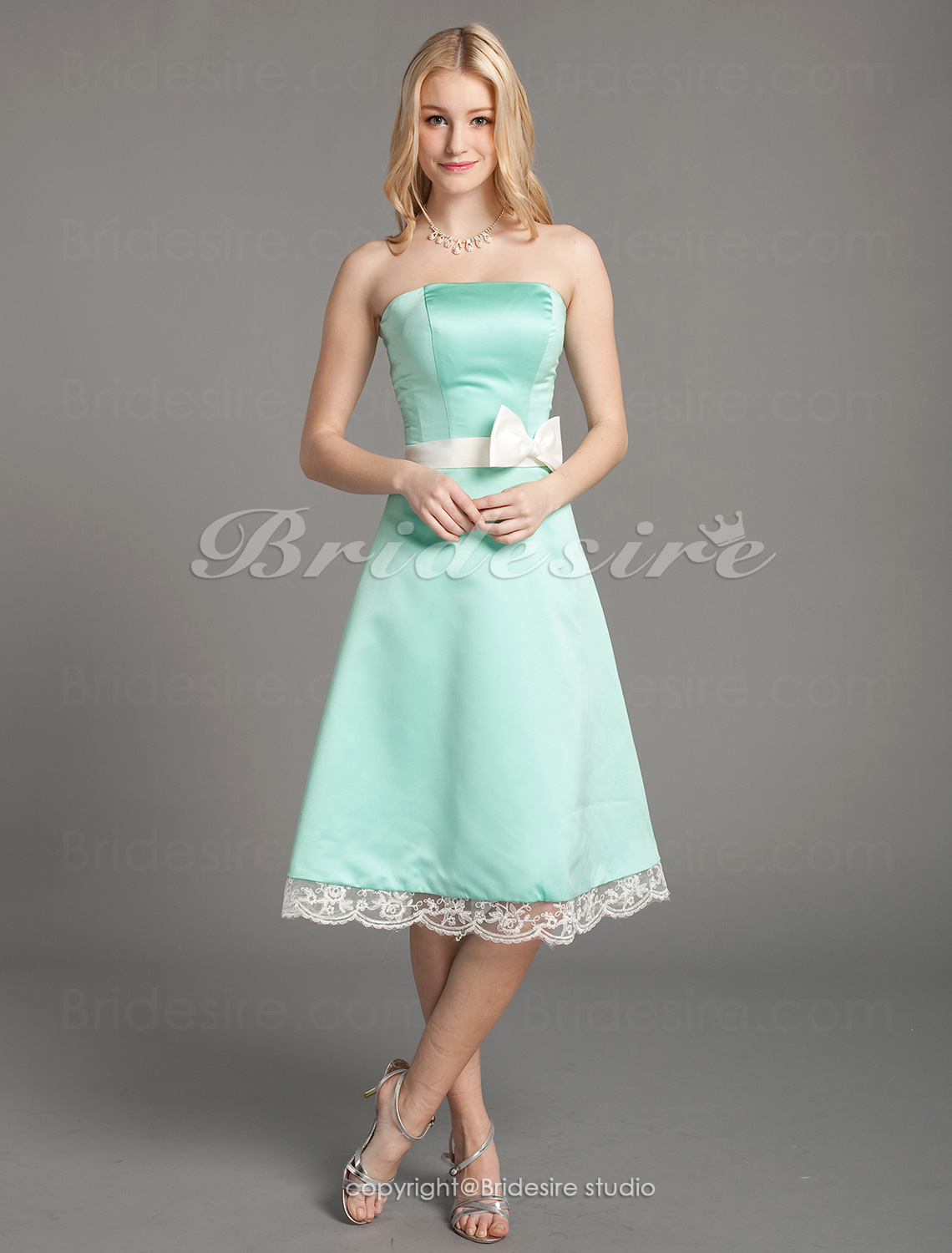 A-line Satin Lace Knee-length Strapless Bridesmaid Dress