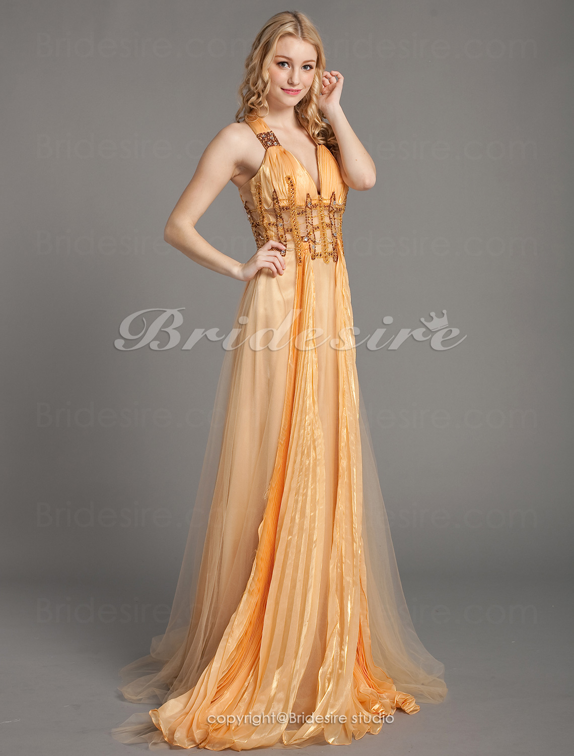 Sheath/Column Floor-length Straps Tulle Chiffon Evening Dress