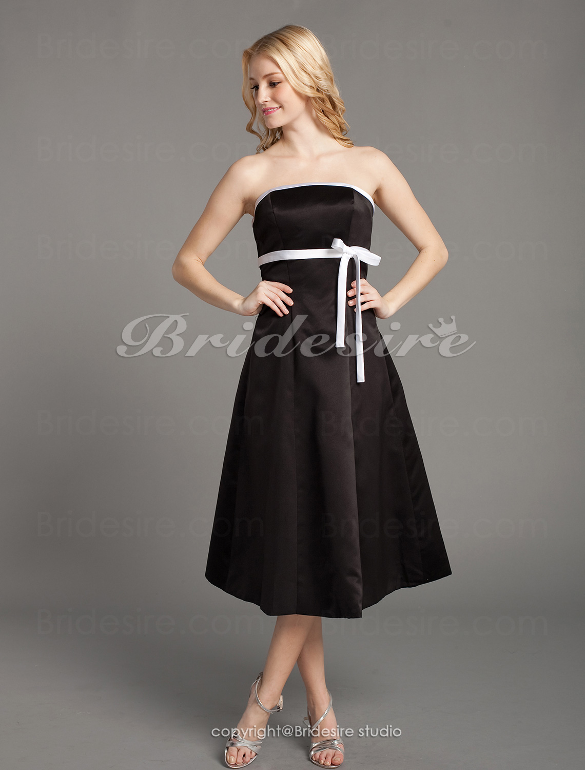 A-line Satin Knee-length Strapless Bridesmaid Dress