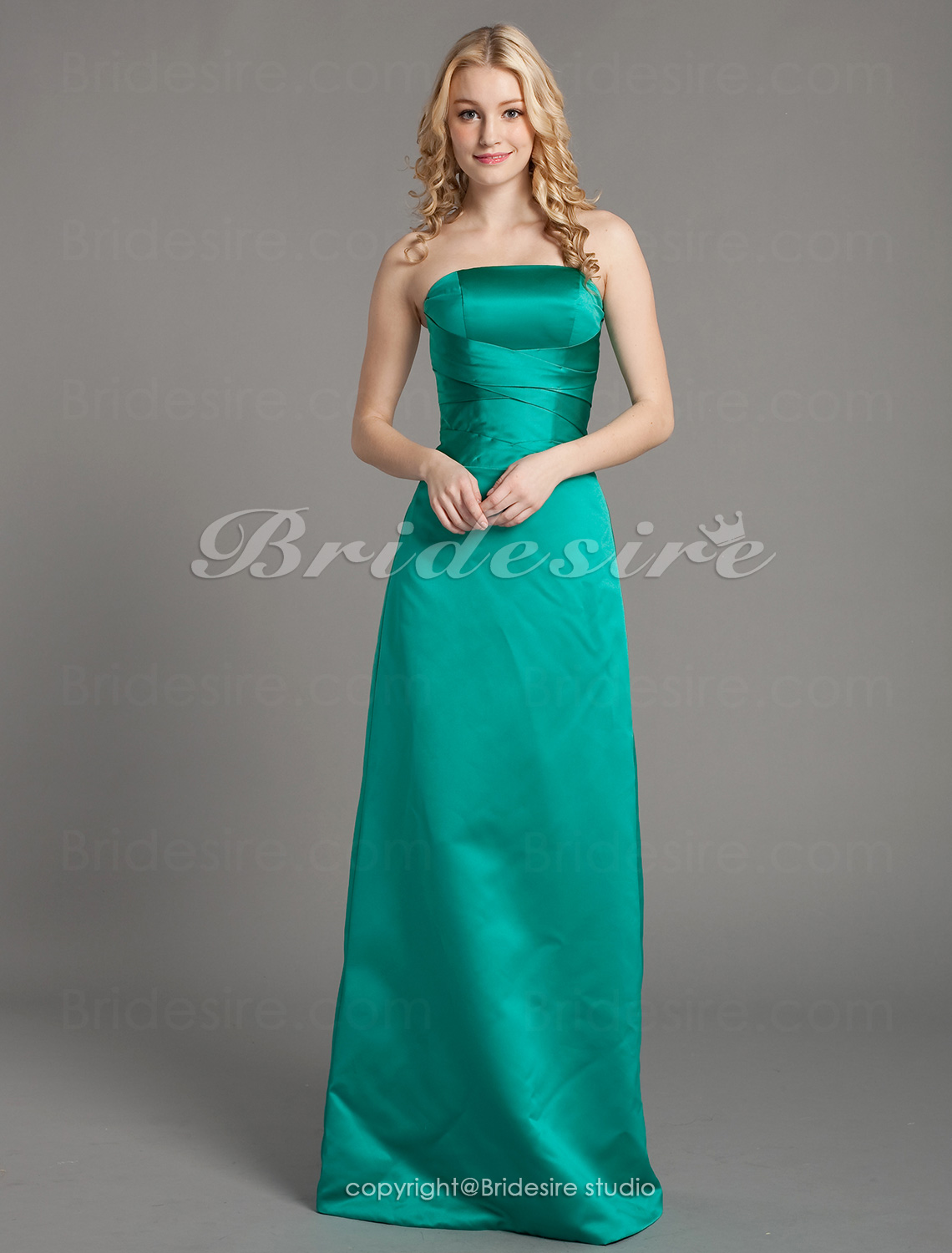 A-line Satin Floor-length Strapless Bridesmaid Dress