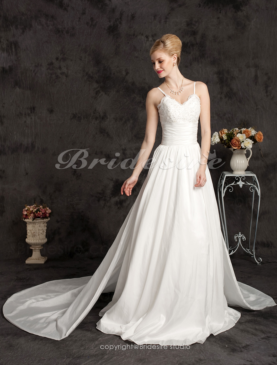 Ball Gown Taffeta Cathedral Train Spaghetti Straps Wedding Dress
