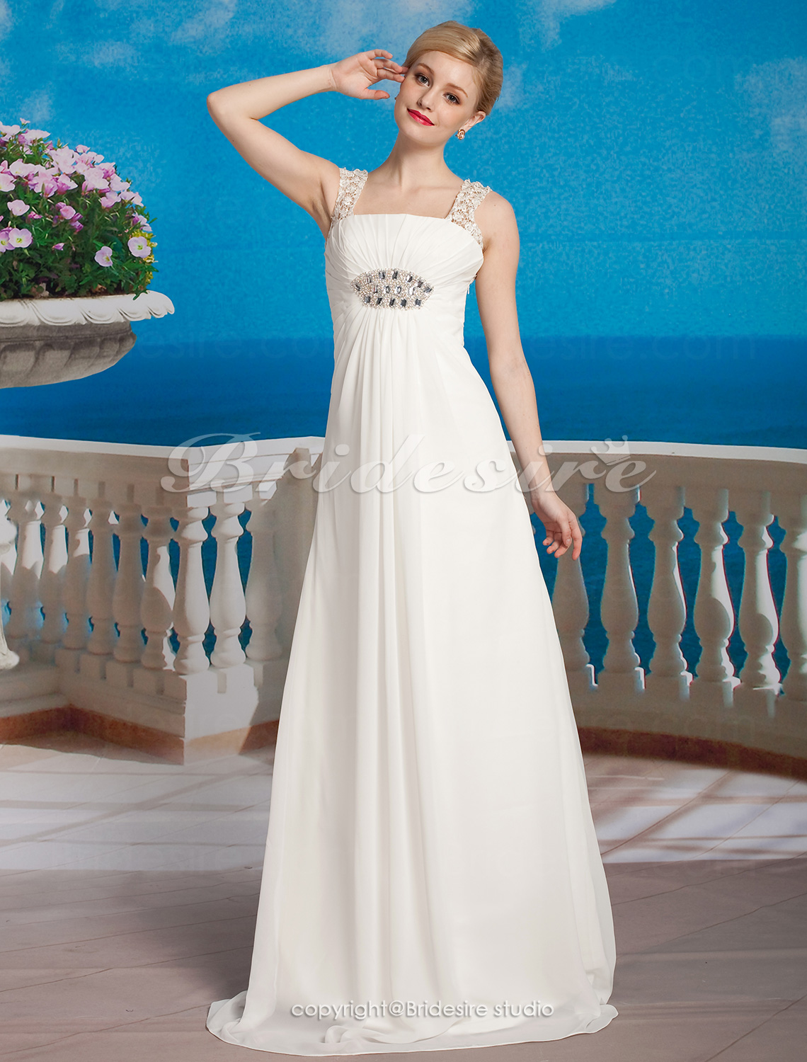 Sheath/ Column Chiffon Floor-length Square Wedding Dress