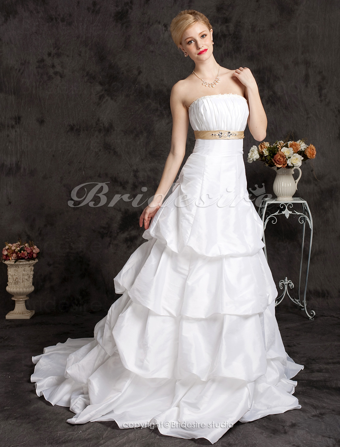 A-line Strapless Princess Court Train Taffeta Wedding Dress with Pick-ups and A Belt