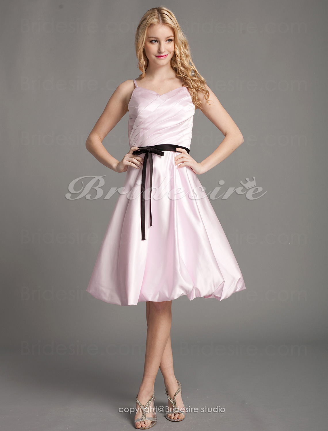 A-line Satin Knee-length Spaghetti Straps Bridesmaid Dress