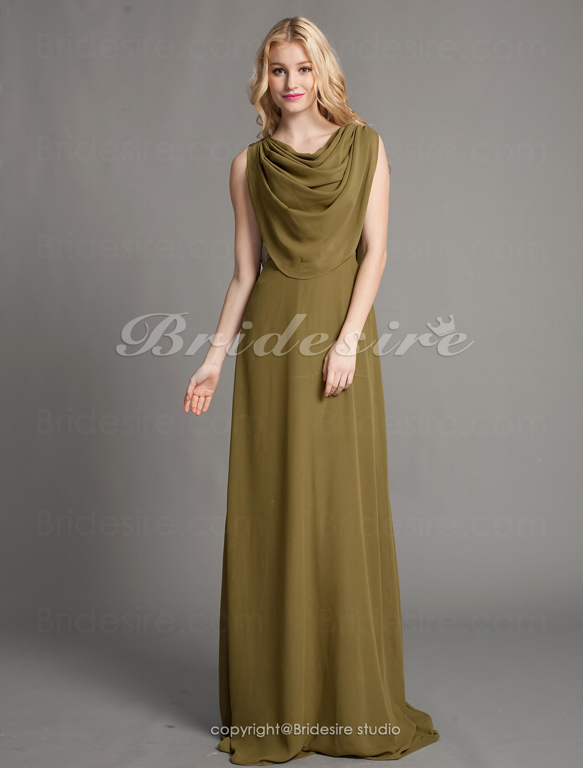Sheath/Column Chiffon Floor-length Cowl Evening Dress inspired by Tia Carrere at Grammy