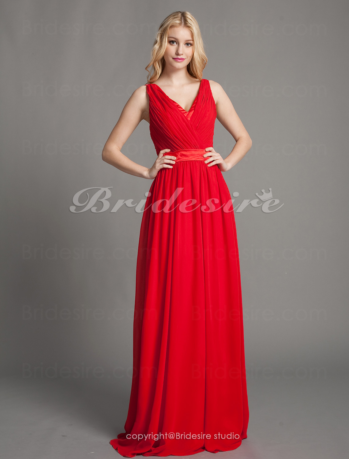 Stretch Satin Chiffon V-neck Floor-length Evening Dress inspired by Selena Gomez at the 83rd Oscar