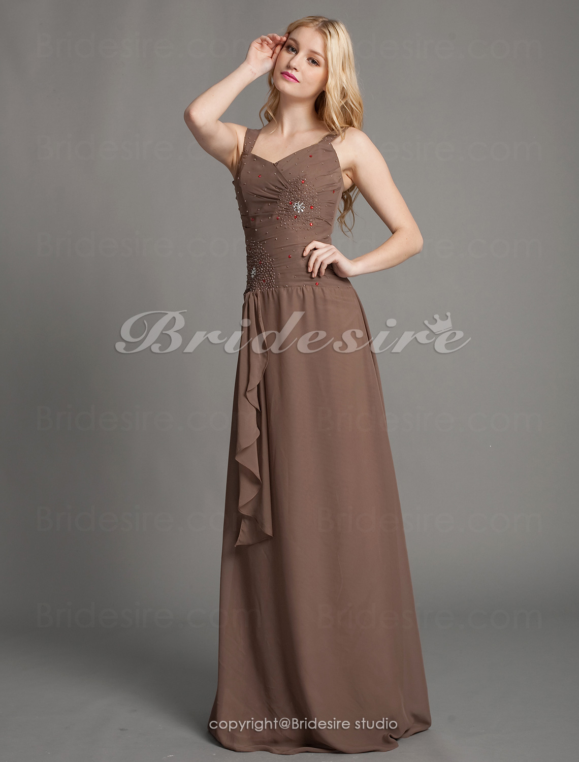 A-line Chiffon Floor-length Straps Evening Dress