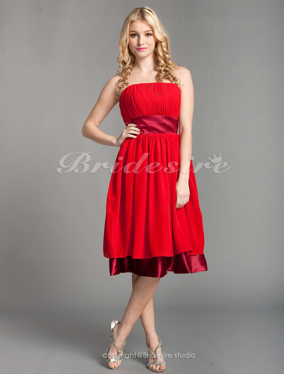 A-line Chiffon Empire Knee-length Strapless Bridesmaid Dress