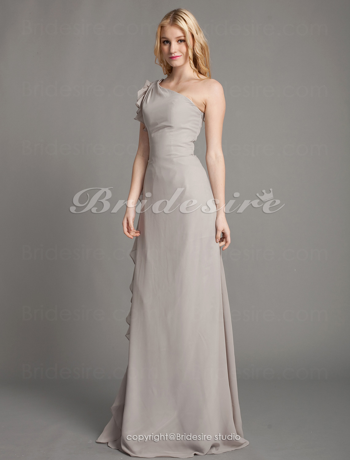 A-line Chiffon Floor-length One Shoulder Bridesmaid Dress
