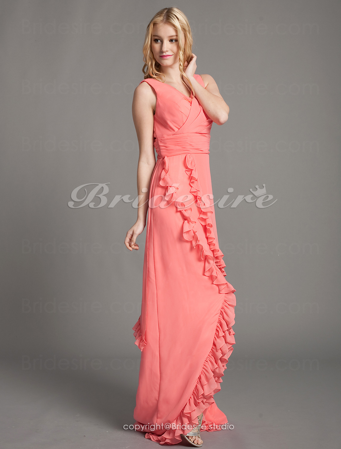 A-line Chiffon Asymmetrical V-neck Bridesmaid Dress