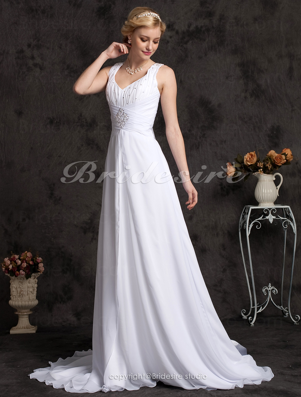 A-line Chiffon Chapel Train V-neck Plus Size Wedding Dress