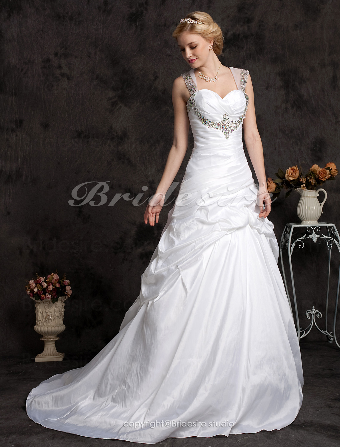 Ball Gown Chapel Train Plus Size Taffeta Sweetheart Wedding Dress