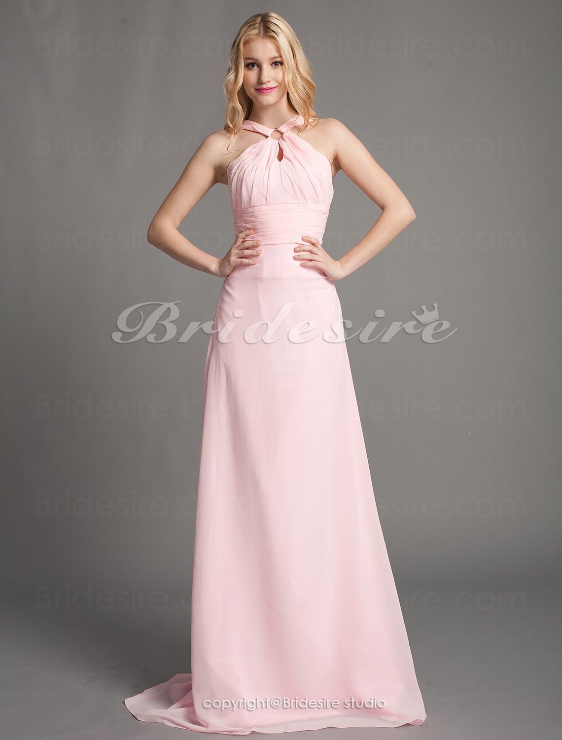 A-line Chiffon Floor-length Straps Bridesmaid Dress
