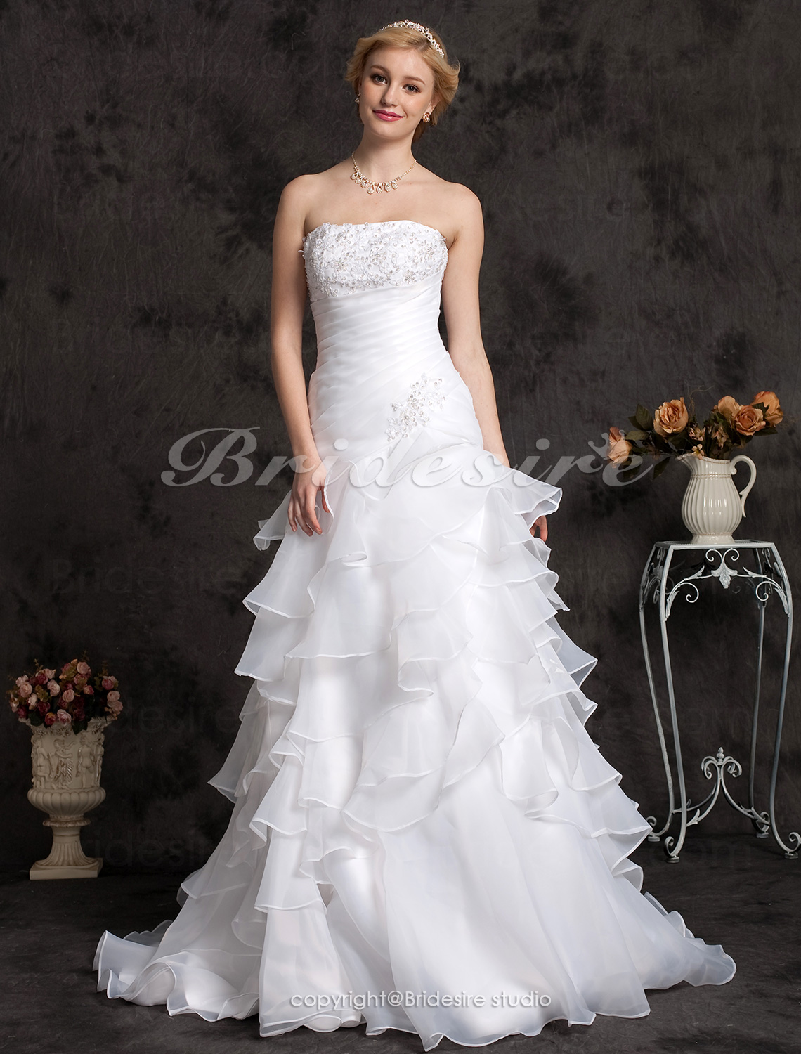A-line Appliques Strapless Side-Draped Tiered Floor-length Wedding Dress